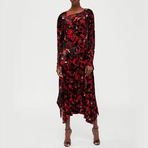 NWT Zara Devore Red Velvet Maxi Dress Size M